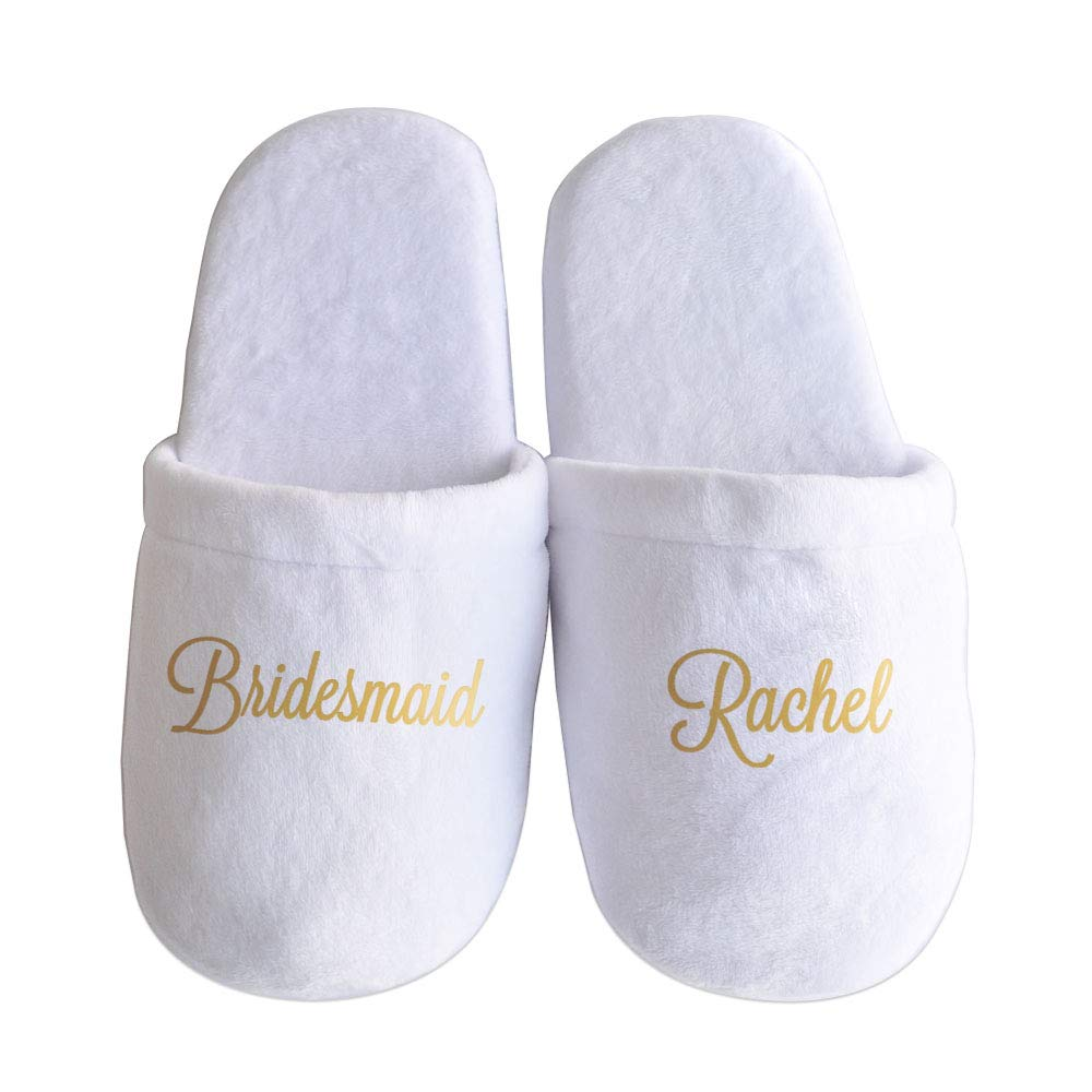 43479b0cef2 Personalized Wedding Slippers, Wedding Bride & Bridesmaid Name Slippers,  Bridal Party Spa Slippers,Bachelorette Party Favors Gifts White
