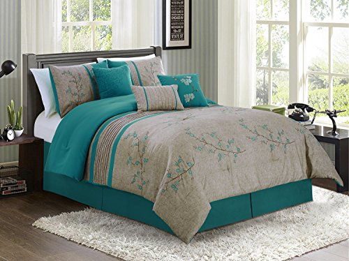 Set Blossom Bedding - Noriko by Chezmoi Collection Luxury 7-piece Teal Cherry Blossoms Floral Embroidery Bedding Comforter Set (Queen, 90