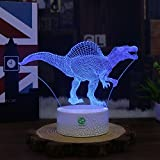 Night Lights for Kids Dinosaur Illusion Birthday Gifts Optical Desk Lamp Table Touch Walking Animal Light Party Western Children Room Decor Bedroom Nursery 7 color Changing USB Crackle Spinosaurus
