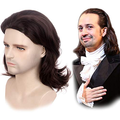 STfantasy Mens Brown Wig Wavy Mid Length Synthetic Hair for Male Cosplay Alexander Hamilton Costume]()