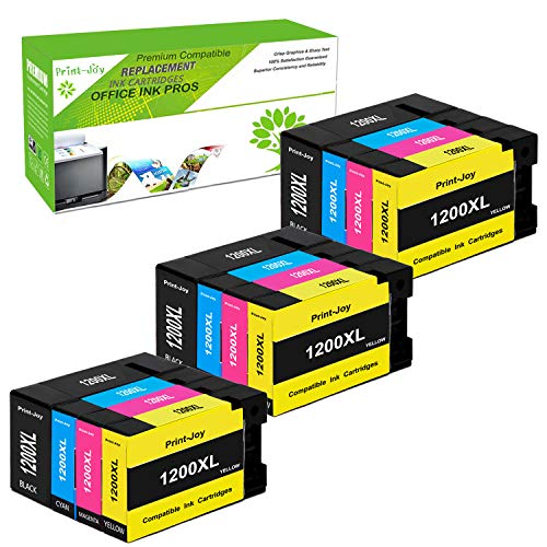 (Print-Joy Compatible Ink Cartridge Replacement for Canon PGI-1200 XL PGI-1200XL PGI1200XL to use with MAXIFY MB2020 MB2320 MB2120 MB2720 MB2350 MB2050 (3BK, 3C, 3M, 3Y) 12-Pack)