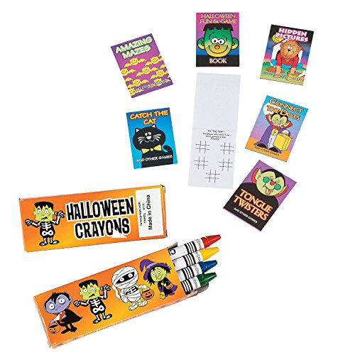 Halloween Party Favor Bundle Pack - Crayons with Fun and Game Books -