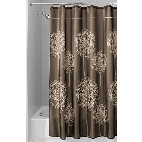 InterDesign Dandelion Shower Curtain, 72 x 84-Inch, Cocoa