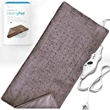 XL Heating Pad - Moist and Dry Electric Heating Pad with Ultra Fast Heat Technology for Back / Legs / Neck and Shoulders | Safe for Pets - Brown ( 12'' x 24''), GENIANI