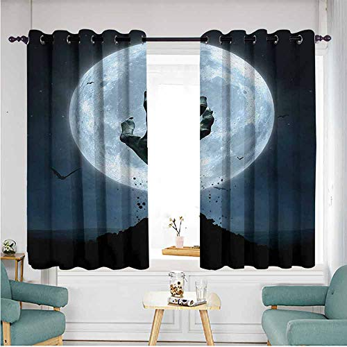 ETHEEKA Thermal Insulating Blackout Curtains,Halloween,Space Decorations,W72x45L,Blue -