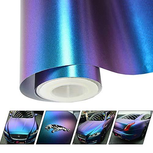 VINYL FROG Matte Metallic Chameleon Purple-Blue Vehicle Car Vinyl Wrap Stretchable Air Release DIY Decoration 1.5 x 5ft