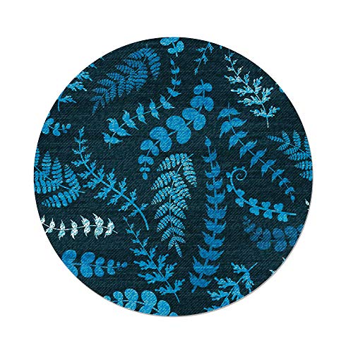 iPrint Polyester Round Tablecloth,Indigo,Dark Green Backdrop Floral Swirl Leaves Branches Details Image,Turquoise Light Blue White,Dining Room Kitchen Picnic Table Cloth Cover Outdoor Indoor