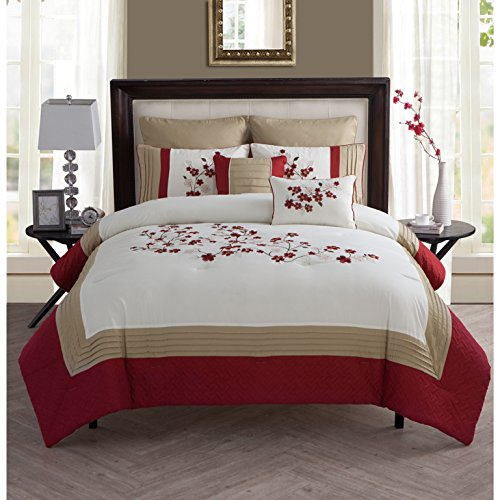 7 Piece Cherry Blossom Themed Comforter Set Full/Queen Size, Featuring Embroidered Floral Design, Stylish Flowers Garden Blossoms Beddings, Classy High End Elegant Chic Luxury Asian Bedroom, Red, Tan