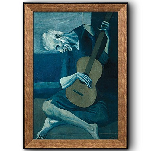 wall26 - The Old Guitarist by Pablo Picasso - Cubism, Painter, Sculptor - Framed Art Prints, Home Decor - 24x36 inches