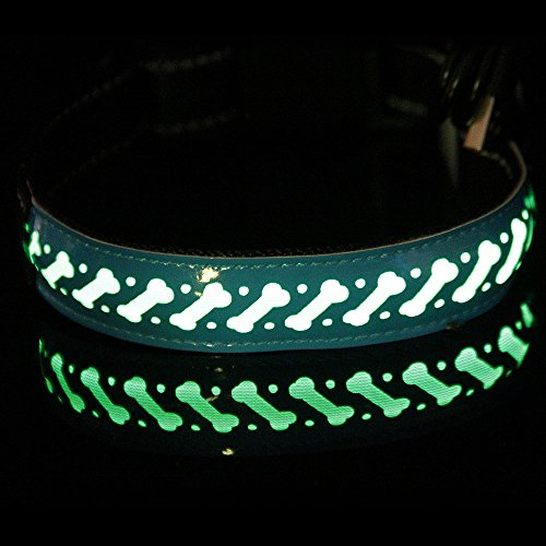 Suma-ma S-L LED USB Chargebale Adjustable Dog Collars - Black Blue Green Red Glowing in The Dark Cat Puppy Collars