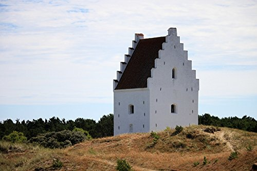 Church Old Print - Home Comforts LAMINATED POSTER Nature Building Denmark Summer Green Church Old Poster Print 24x16 Adhesive Decal