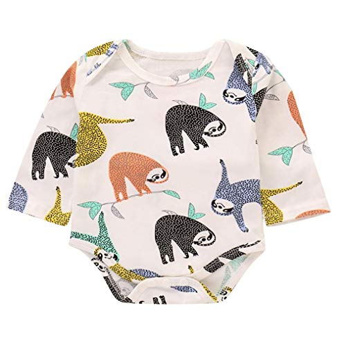 Toddler Baby Boy Cartoon Sloth Print Romper Outfit Newborn Jumpsuit Clothes (18-24 Months, White)