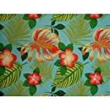 Hanko Blue Futon Cover Twin Size, Proudly Made in USA (Tropical Hawaiian Theme, Hisbicus Flowers Leaf Print - Available in Full, Queen, Twin and Other Sizes)