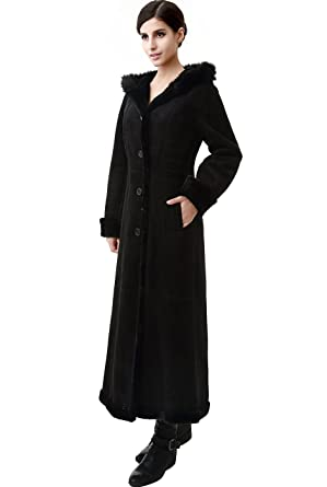 0c83c4a4 BGSD Women's Pauline Hooded Faux Shearling Maxi Coat: Amazon.co.uk ...