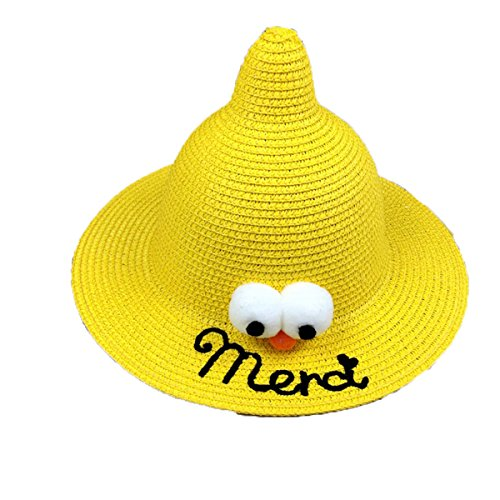OUCHI Kid's Halloween Cos Sesame Street Straw Woven Sunhat Bucket Hat Yellow (Couple Halloween Cos)