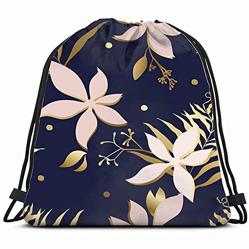 Floral Gold Textured Leaf Elegante Abstract Nature Drawstring Backpack Gym Dance Bags For Girls Kids Bag Shoulder Travel Bags Birthday Gift For Daughter Children Women ()