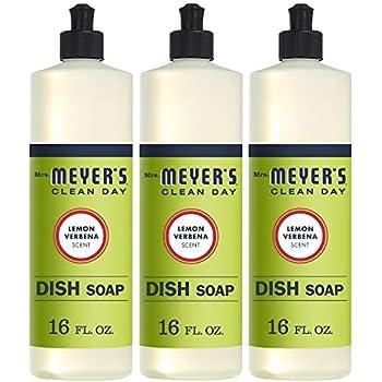Mrs. Meyer's Liquid Dish Soap, Lemon Verbena, 16 Fluid Ounce (Pack of 3)