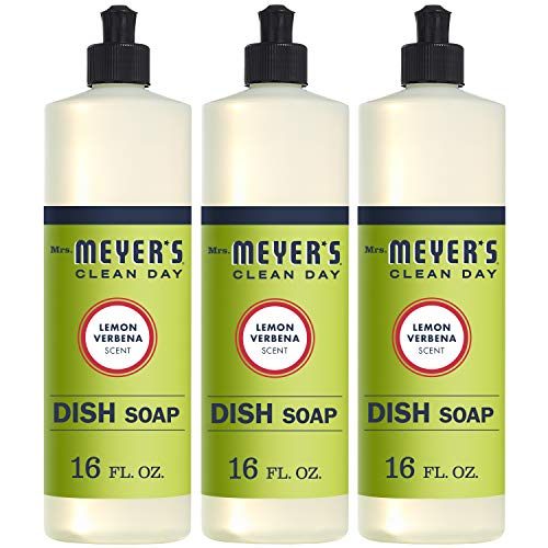 (MRS Meyers Liquid Dish Soap, Lemon Verbena, 16 Fluid Ounce (Pack of 3))