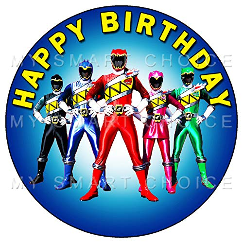 Power Ranger Birthday Cake (7.5 Inch Edible Cake Toppers - POWER RANGERS FUN PARTY Themed Birthday Party Collection of Edible Cake)