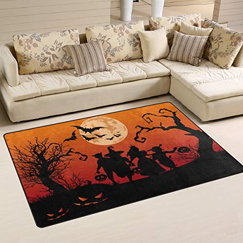 Children Trick or Treating in Halloween Costume Non Slip Area Rug for Living Dinning Room Bedroom Kitchen, 5' x 7'(60 x 82 Inches / 152 x 210 cm), Halloween Holiday Nursery Rug Floor Carpet Yoga Mat]()