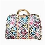 Crystalzhong Travel Duffel Hand Luggage Flower Portable Travel Bag PU Waterproof Gym Bag Traveling Short-Distance Bag Boarding Bag Waterproof Shoulder Bag Weekender Overnight Luggage
