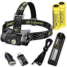 Nitecore HC60 1000 Lumen USB Rechargeable LED Headlamp with 2x Nitecore 3400 mAh 18650 batteries, Nitecore USB Charger and LumenTac Car AC USB Adapters (White Light)