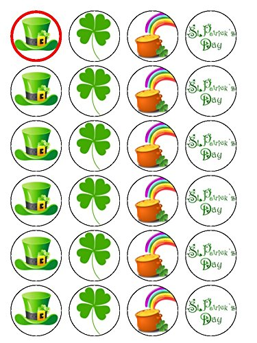 24 St. Patrick's Day Irish Ireland Edible Wafer Paper Cup Cake Toppers