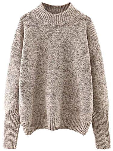- Milumia Women's Crew Neck Ribbed Trim Drop Shoulder Knit Basic Sweater (One Size, Khaki)