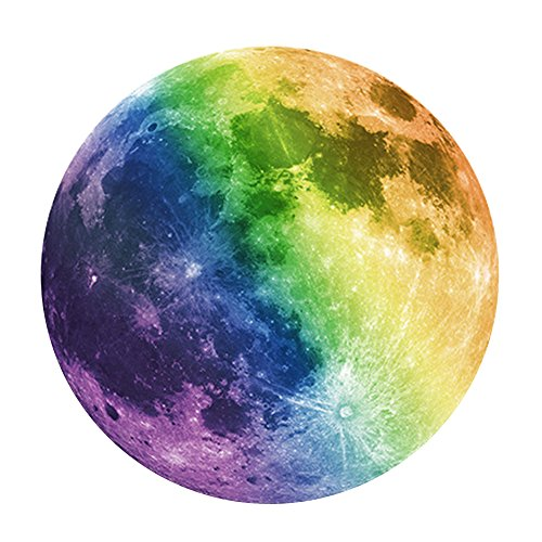 Happy Hours - Luminous Moon Removable Decor Wall Stickers / Unique Glow in the Dark Wall Stickers for Kids, Boy, Girls Bedroom, Children Room, Playroom(40cm, (Pooh Bear Halloween Wallpaper)