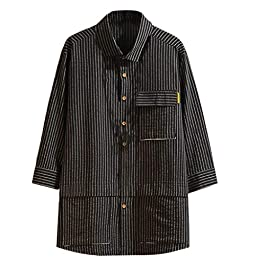Kekebest 2019 Autumn Tops for Men,Blouse Japanese Seven-Sleeve Tooling Striped Plus Size