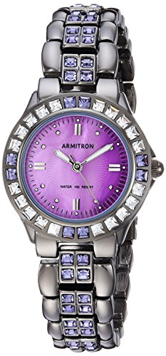 Armitron Women's 75/3689VMDG Purple Swarovski Crystal Accented Gunmetal Bracelet Watch