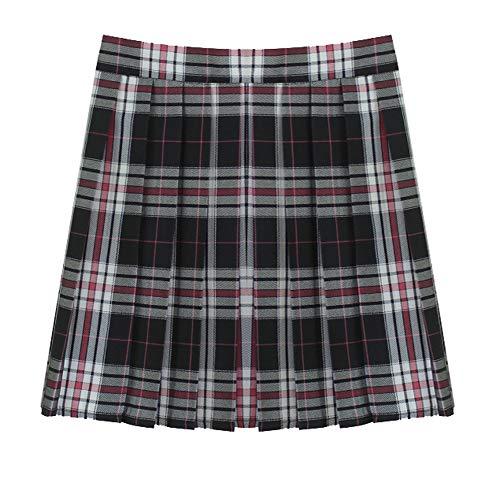 (Women School Uniforms Plaid Pleated Costume Mini Skirt)