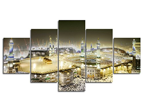 Modern Mecca holy mosque Printed Painting on Canvas Wall Art Artwork Prints Picture for Living Room Office Giclee Home Decoration Gallery-wrapped Wooden Framed Stretched Ready to Hang(50''Wx24''H) for $<!--$56.99-->