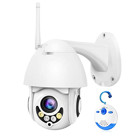 Luowice WiFi IP Camera Outdoor Wireless PTZ Security Camera HD 1080P Pan  Tilt Zoom 5X Optical 100ft Color Night Vision Two-Way Audio IP66  Weatherproof