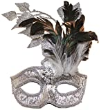 Jacobson Hat Company Women's Sequin Carnival Mask with Feathers 2, Silver, Adjustable