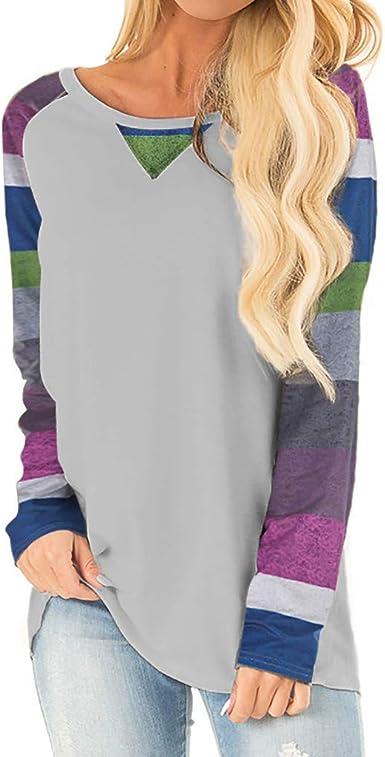 Sylar Camisetas Mujeres Manga Larga Suelto Blusas Mujer Elegantes Tallas Grandes Camisetas De Mujer Cuello Redondo con con Estampado Rayas Sudadera Mujer Sin Capucha Camisa Mujer: Amazon.es: Ropa y accesorios