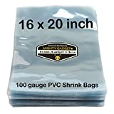 100 pcs Quality 16 x 20 inch PVC Shrink Wrap Bags for Books, Soaps, Bath Bombs, Bottles, Crafts & DIY Products by Mighty Gadget (R) - 100 gauge