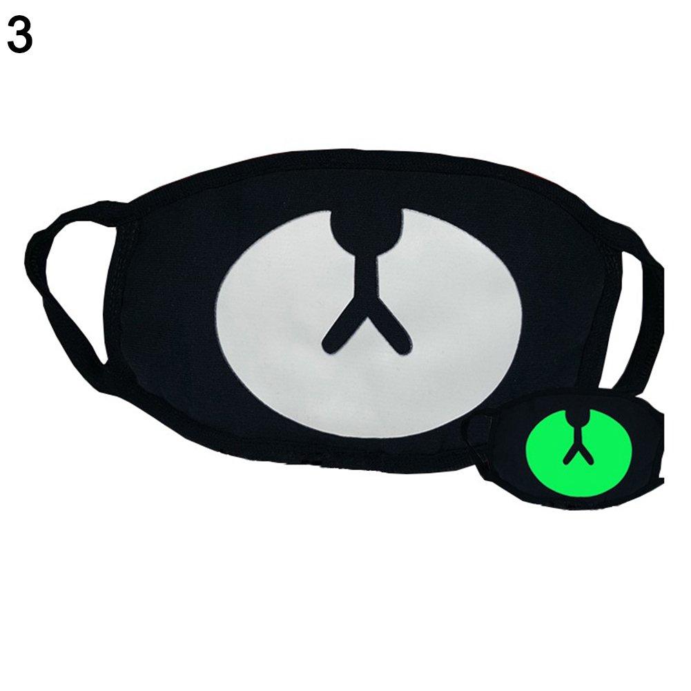 Shuohu Green Night Mask Personality, Fashion Unisex Cosplay Party Outdoor Cool Luminous Anti Dust Cotton Mouth Mask #Bear