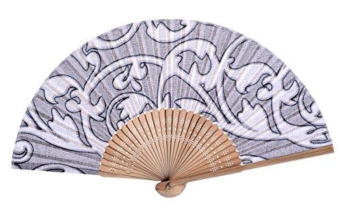 Salutto Hand Fan with Beautiful Fabric Printed (Grey (Beautiful Bamboo Hand Fan)