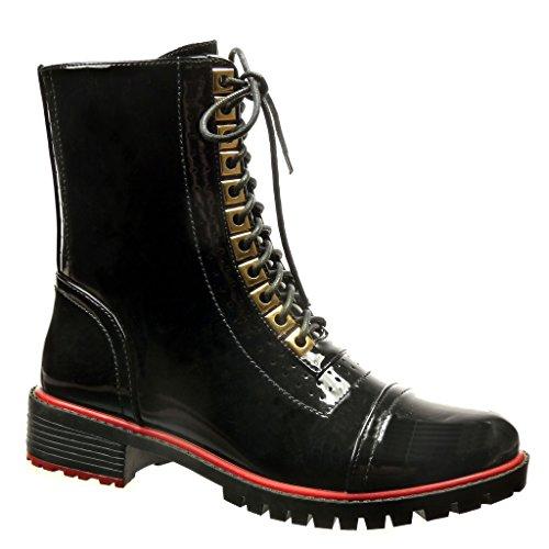 Angkorly - Zapatillas de Moda Botines botas militares botas de guma de lluvia mujer perforado patentes Talón Tacón ancho 3.5 CM - Negro