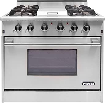 DRGB3601 36 Pro-Style Gas Range With 4 Sealed Burners, 18,500 BTU Infrared Griddle, 5.2 cu. ft. Manual Clean Convection Oven and Infrared Broiler In Stainless Steel
