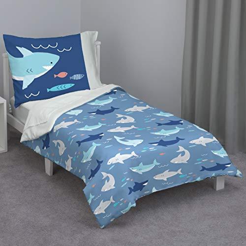 Everything Kids Navy & Light Blue Shark 4Piece Toddler Bed Set - Comforter, Fitted Bottom Sheet, Flat Top Sheet, Reversible Pillowcase, Navy, Light Blue, Grey, Teal