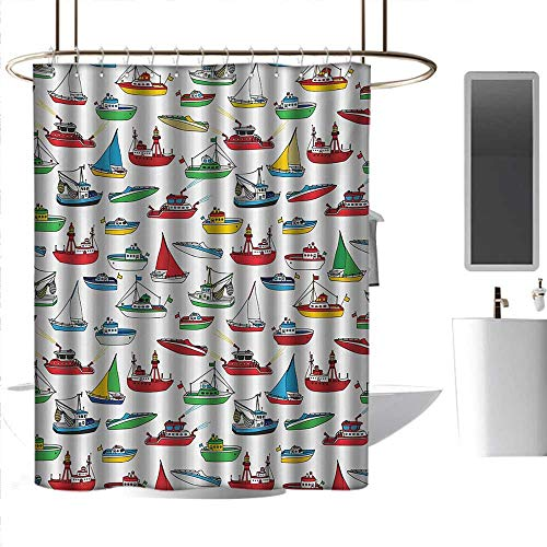 Dolphin Speed Boat - coolteey Shower Curtains Dolphins Nautical,Bunch of Colorful Vessel Speedboat Fishing Trawler Motorboat Water Vehicle Concept,Multicolor,W48 x L84,Shower Curtain for Shower stall