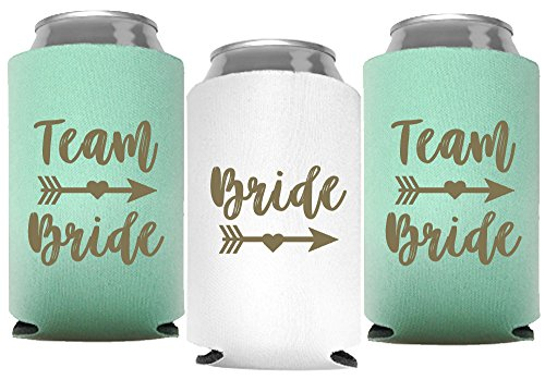 Bride and Team Bride Bachelorette Party Can Coolers, Set of 12 White and Mint Green Beer Can Coolies, Perfect Bachelorette Party Cups, Decorations and as Brides Maid Gifts (Mint Green)
