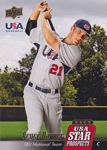 Upper Deck Usa Rookie Baseball - 2009-2010 Upper Deck Signature Stars - USA Star Prospects - Bryce Harper - 18U National Team USA Baseball Rookie Card - RC - #USA-8