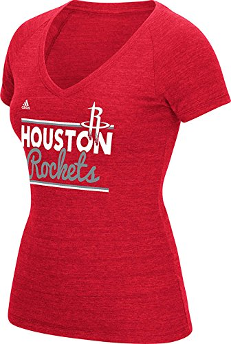 NBA Houston Rockets Women's Double Bar Tri-Blend V-Neck Tee, Large, Red