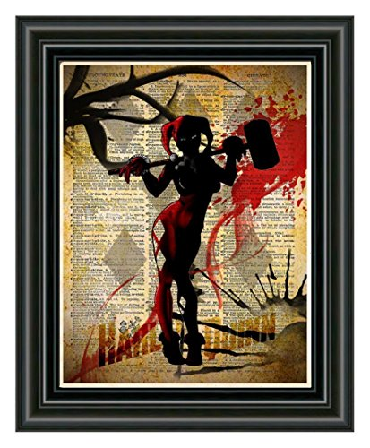 Harley Quinn art print, splatter art, superhero decor,cool pop art, vintage dictionary art -