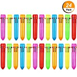 Frienda 24 Pieces 10-in-1 Retractable Ballpoint Pens Multicolor Pens Colorful Retractable Mini Shuttle Pens for Office School Supplies Students Children Gift