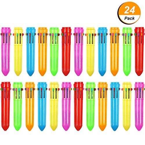 Twenty Popular Pieces (Frienda 24 Pieces 10-in-1 Retractable Ballpoint Pens Multicolor Pens Colorful Retractable Mini Shuttle Pens for Office School Supplies Students Children Gift)