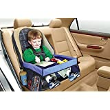 OUYANG Foldable Safety Baby Car Seat Table Kids Play Travel Tray Drawing Board Waterproof (Size: 40cm by 32cm by 21cm)
